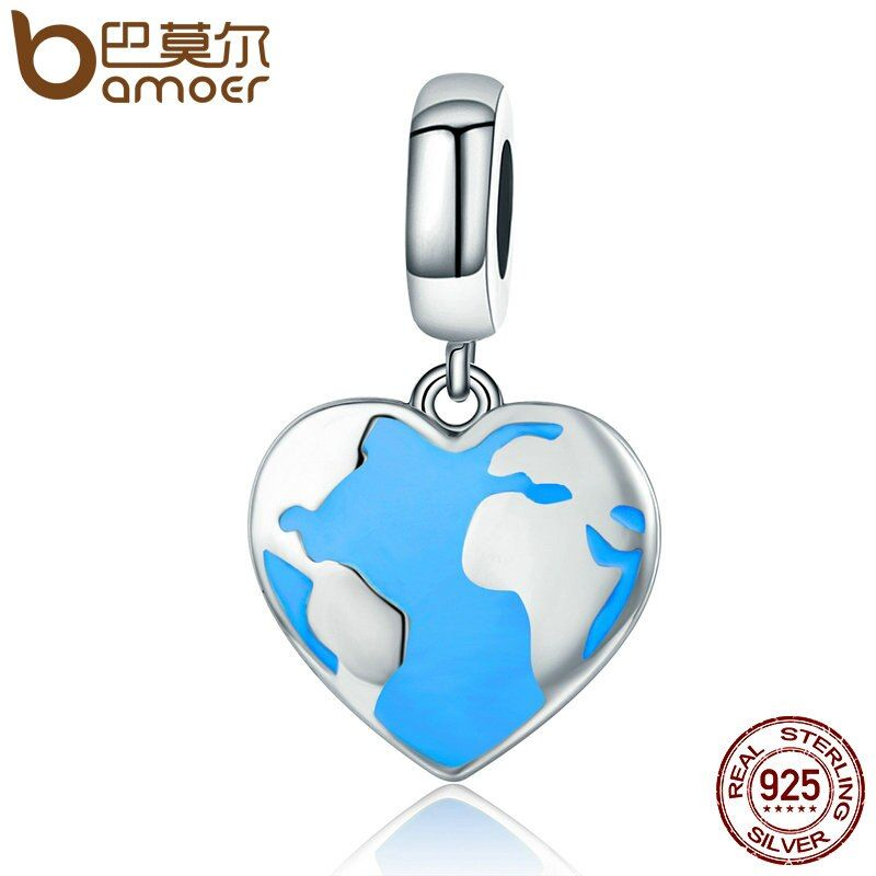 BAMOER Genuine 925 Sterling Silver Travel Dream Map in Heart Dangle Charms fit Bracelets & Necklaces Jewelry Accessories SCC351