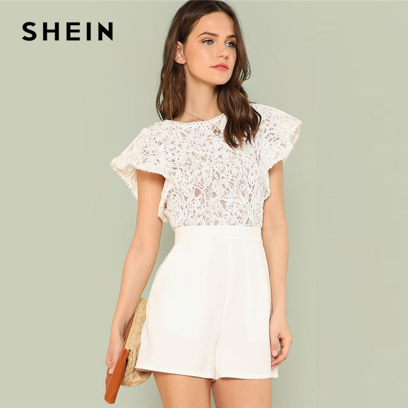 SHEIN Summer Lace Bodice Ruffle Trim Romper 2018 Summer Round Neck Cap Sleeve Short Jumpsuits Women White Elegant Jumpsuits
