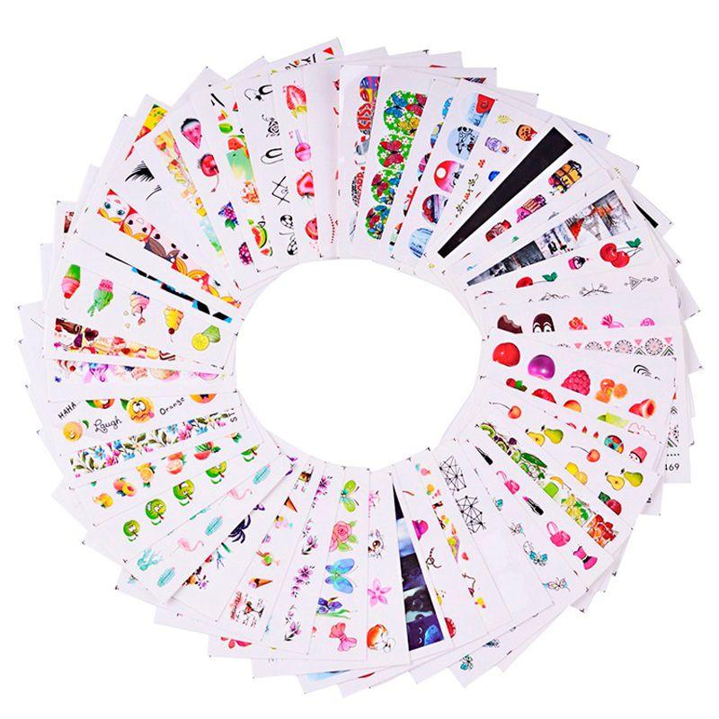 1 Set Mixed Bunte Bild Nagel Aufkleber Obst/Kuchen/Halskette/Schmetterling DIY Nette Sliders Maniküre Wasser Decals sets TRSTZ455-512