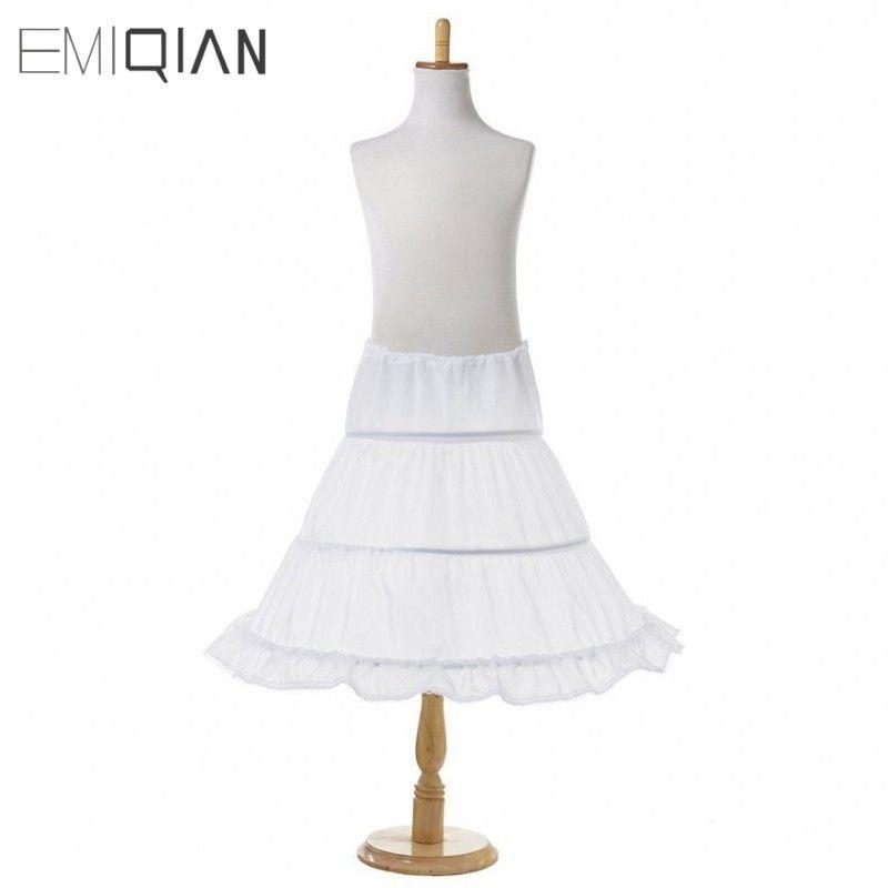 3 Hoops Weiße A-linie Blumenmädchen Kleid Petticoat 2017 Top Qualität Kind Unterrock Für Blume Mädchen Kleider Länge 53 CM