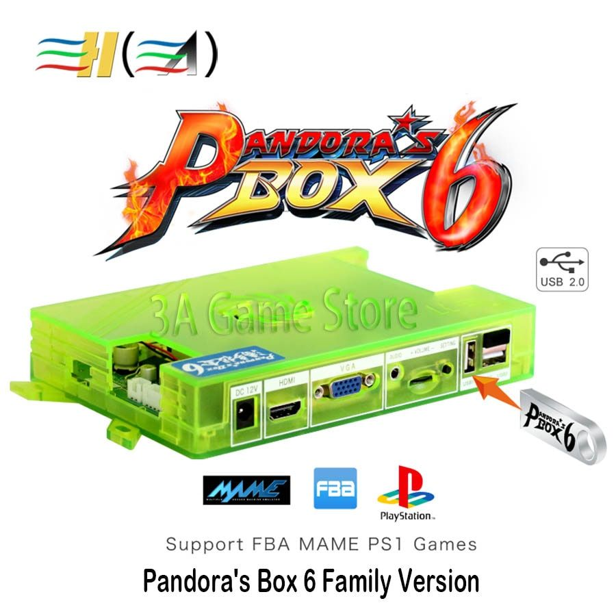 Pandora Box 6 1300 in 1 Pandora's Box Console Motherboard Family Version support 3d game can add 3000 games FBA MAME PS1 game