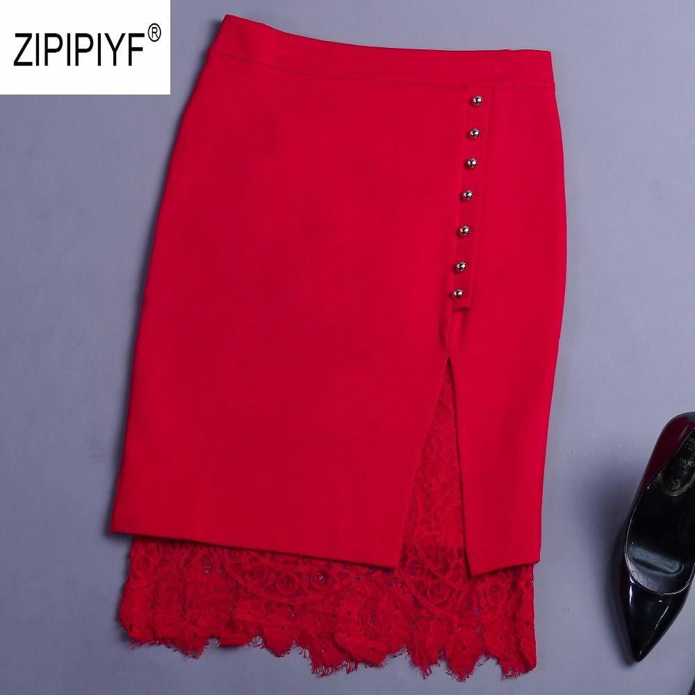 Elegant Lace Patchwork Pencil Skirt High Waist Women Single Breasted Spring Skirts Fashion OL Work Slim Midi Skirt B1364