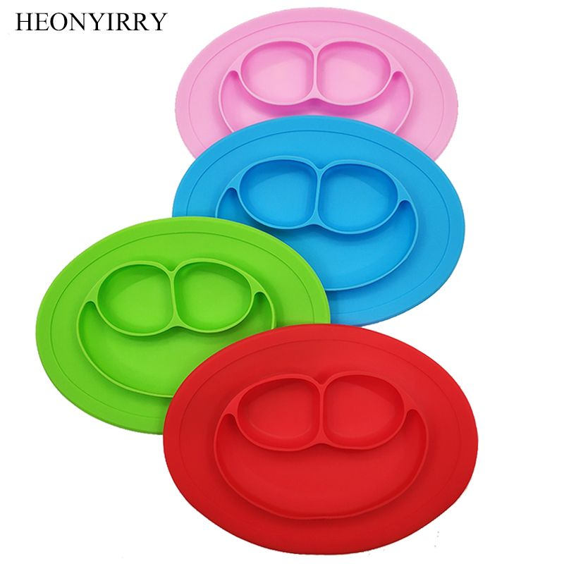 Baby Silicone Dining Plates BPA Free Toddle Training Dinner Plate Smile Face Tableware Fruit Tray Kids Food Feeding Bowl Dishes