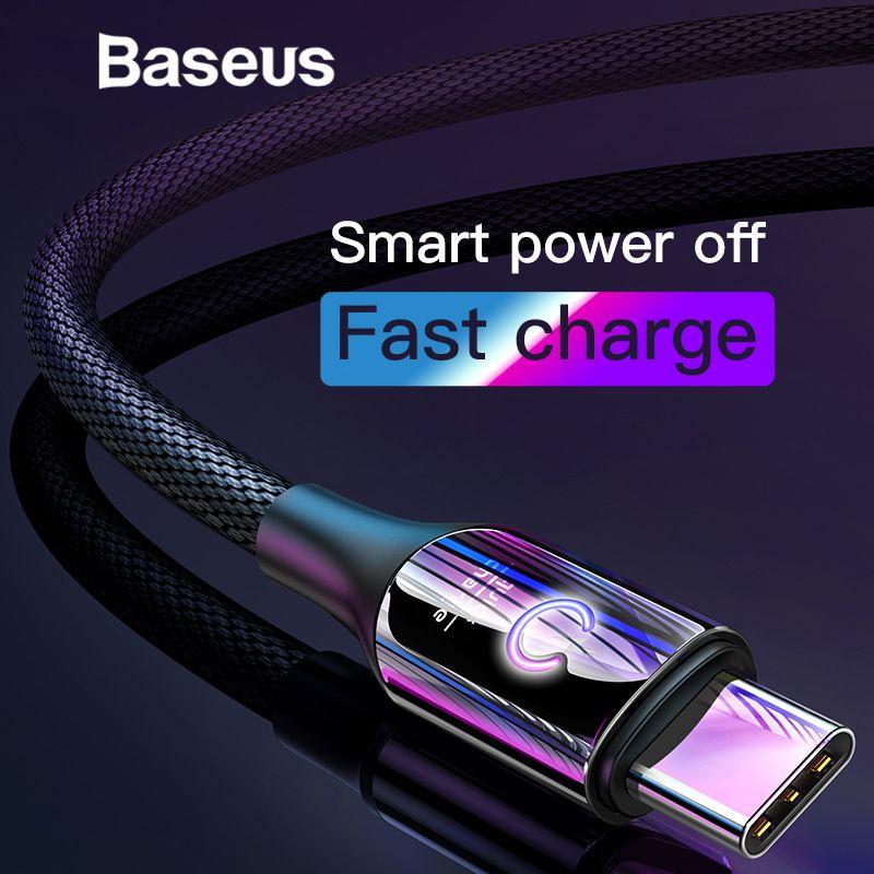 Baseus Smart Changement Respirer Éclairage USB Type C Câble Soutien 3A Rapide De Charge pour Samsung galaxy note 9 s9 plus Type C Appareils