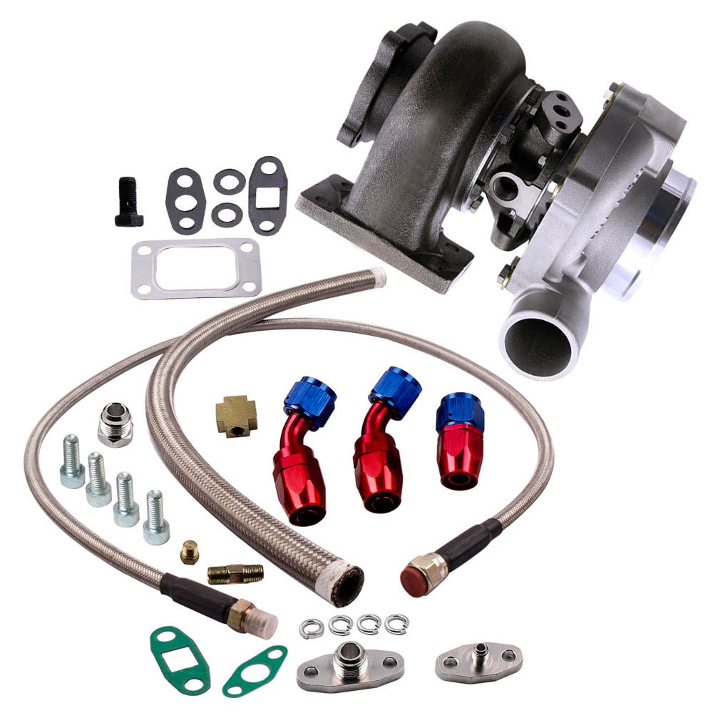 Water+Oil GT30 GT3037 GT3076R Turbocharger 500HP +Oil Drain Return FEED Line Flange A/R .6 Turbine A/R .82 Water Universal turbo