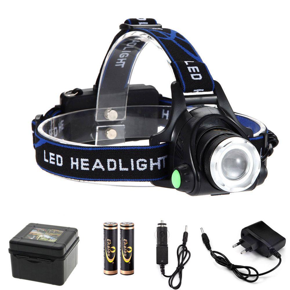 Chaude 5000 Lumens Lampe Frontale Lampe Torche Rechargeable Zoom Étanche Haute Puissance LED Phare De Vélos Camping Randonnée Lumière kit