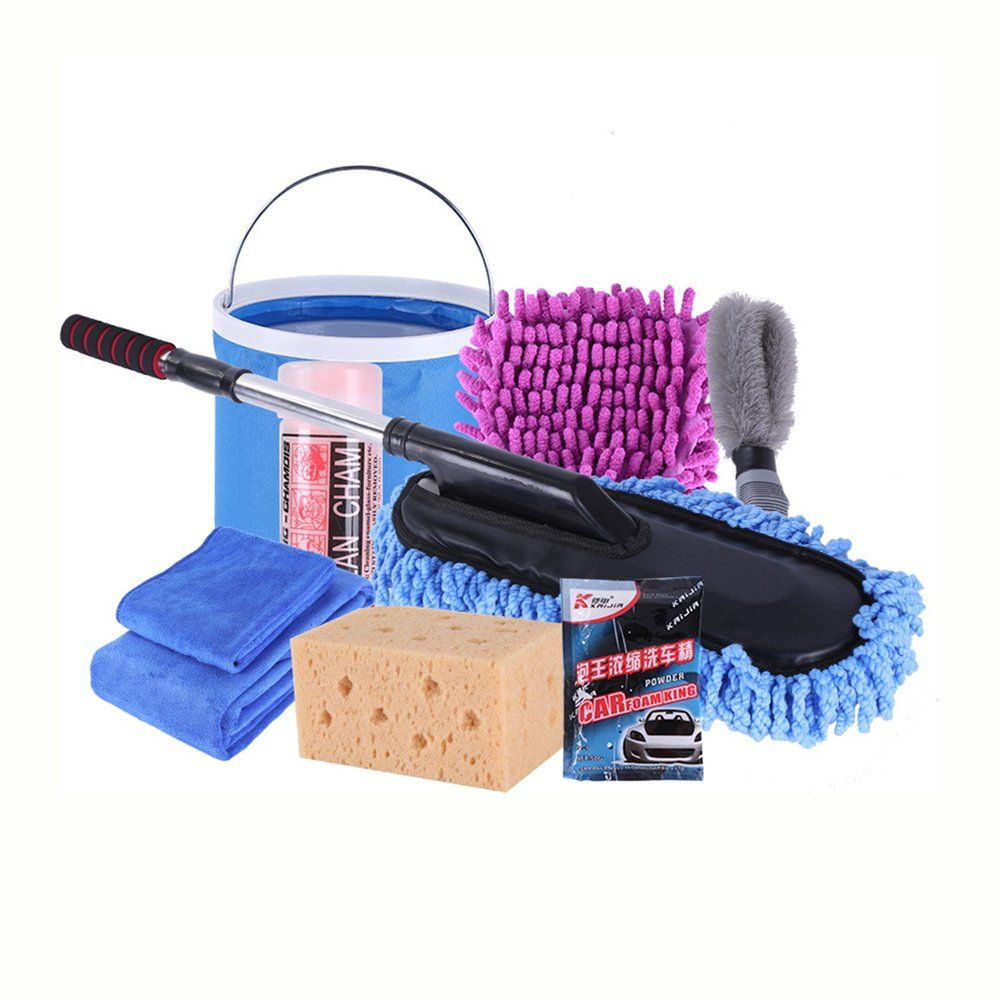 HOT9pcs/set Vehicle Cleaning Kit To Wash Car Exterior & Interior Home Cleaning Kit Microfiber Towels Cleaning Kit