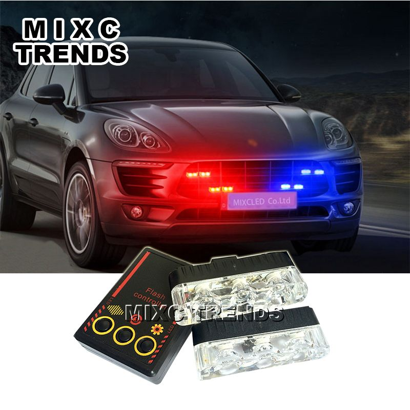 MIXC TRENDS 2x3 led Ambulance Police Strobe light Car Truck DRL Emergency Flashing Firemen DC 12V Auto LED Warning Day light