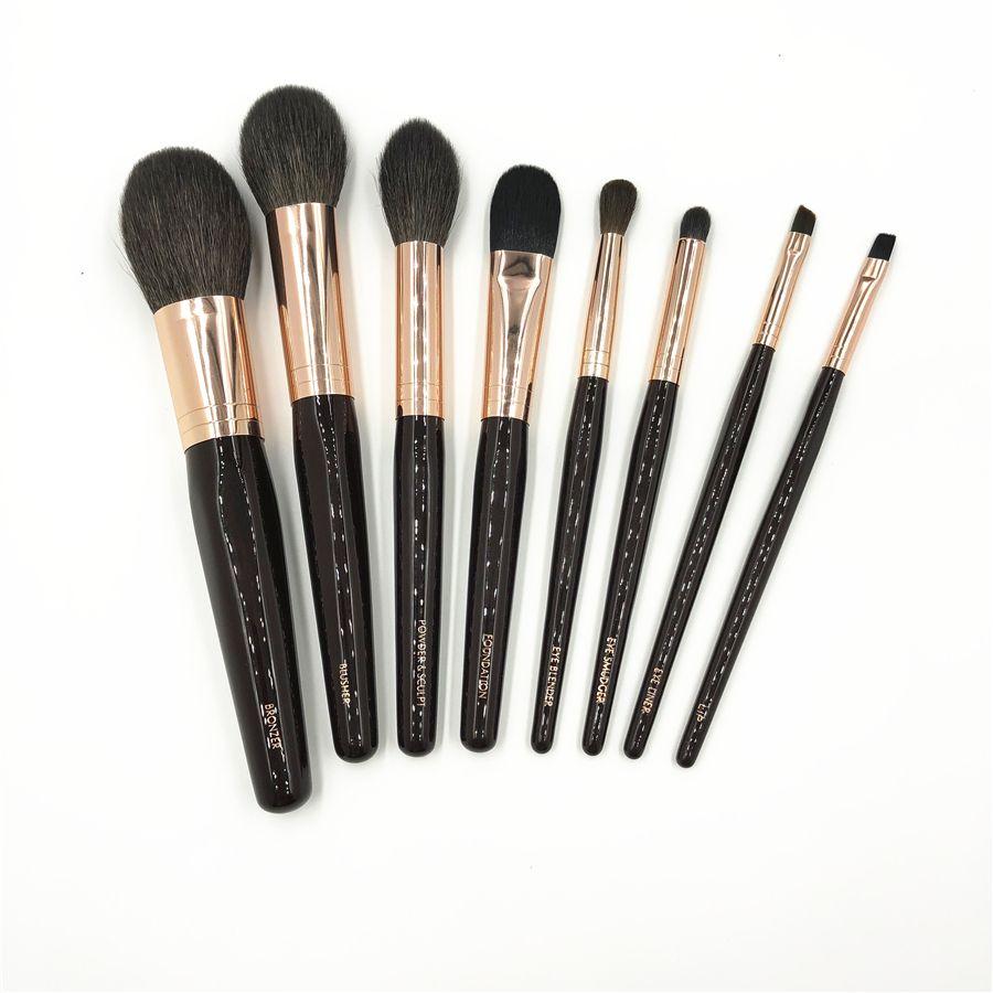 CT Marque 8 pinceaux de maquillage pcs Ensemble Haut de gamme Chèvre Écureuil Cheveux Doux Bronzer Poudre pinceau pour fard à joues Eye Blender Smudger brosse eyeliner