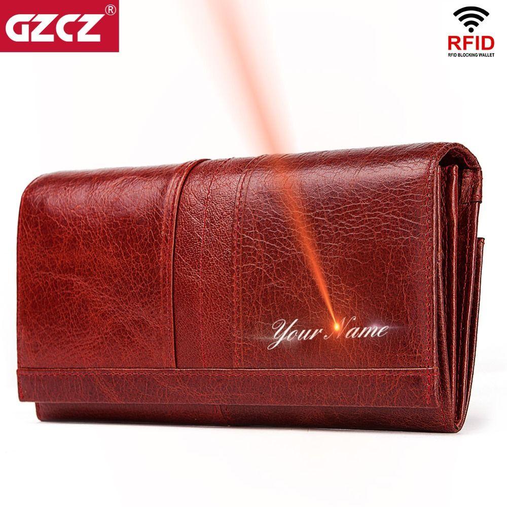 GZCZ en cuir véritable femmes mode pochette portefeuille femme porte-monnaie Portomonee pince pour téléphone sac longue dame pratique porte-carte