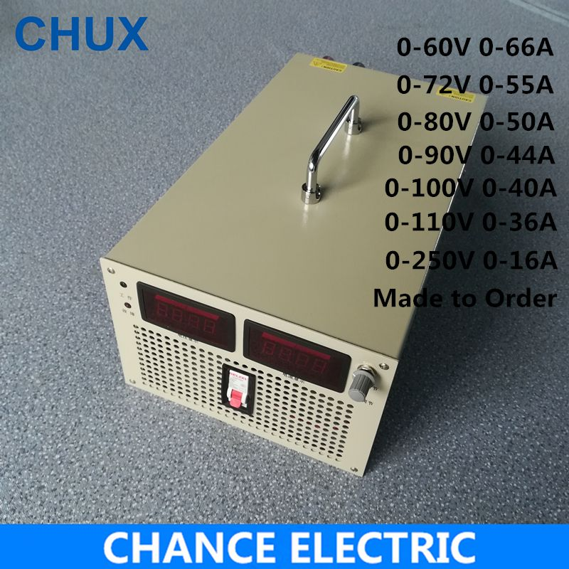 60V 72V 80V 90V 100V 110V 250V Switching Power Supply 4000W Input 110V 220V 380V AC to DC LED Smps 4000W Adjustable Power Supply