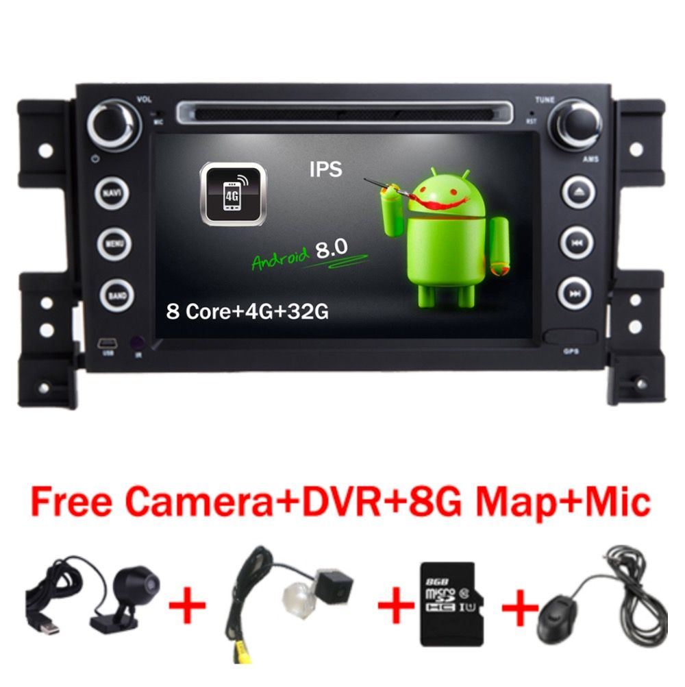 2 din android 8.0 car DVD player for Suzuki grand vitara multimedia car radio stereo gps with steering wheel camera DVR Map