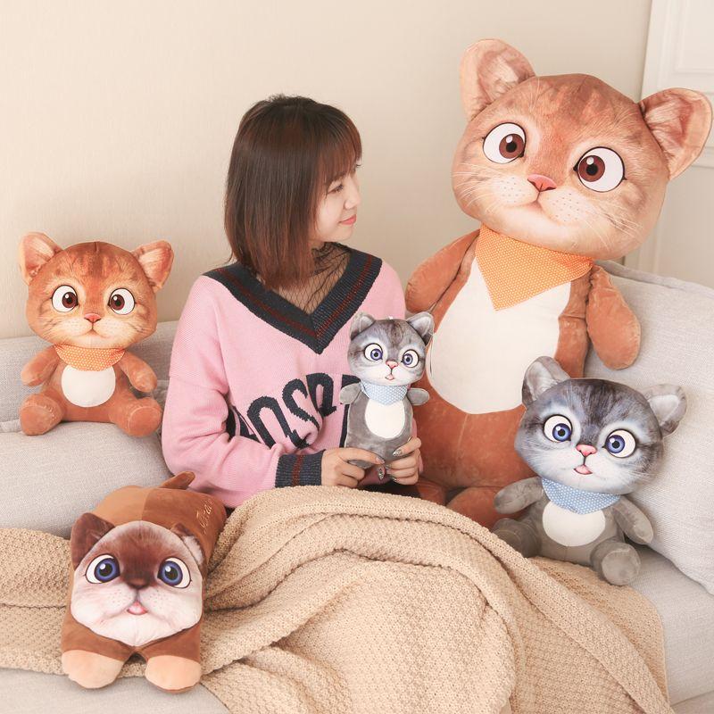 Livraison directe 3D impression mignon chat poupée chat en peluche jouet en peluche poupée fille dormir oreiller cadeau jouets