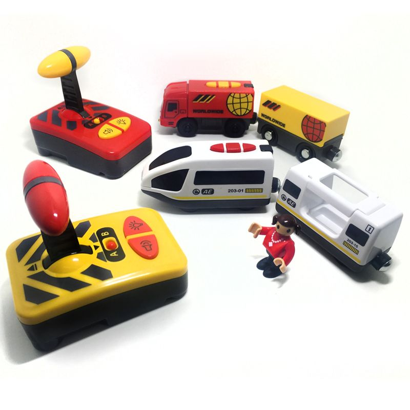 Free shipping Remote control electric magnetic link compatible Thomas wooden <font><b>track</b></font> white Harmony train and red worldwide train