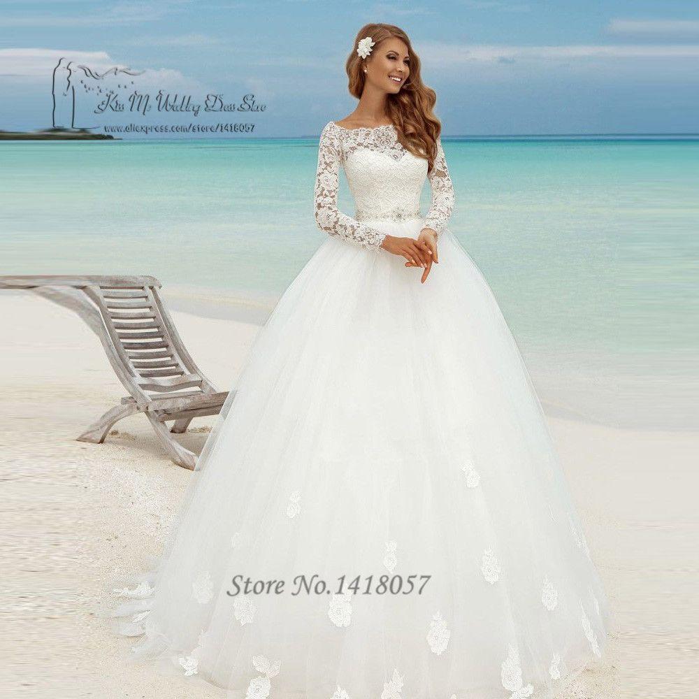 Frauen Matrimonio Frühjahr Brautkleid Langarm Ballkleid Braut Kleider Spitze Brautkleider Vestido de Casamento Branco