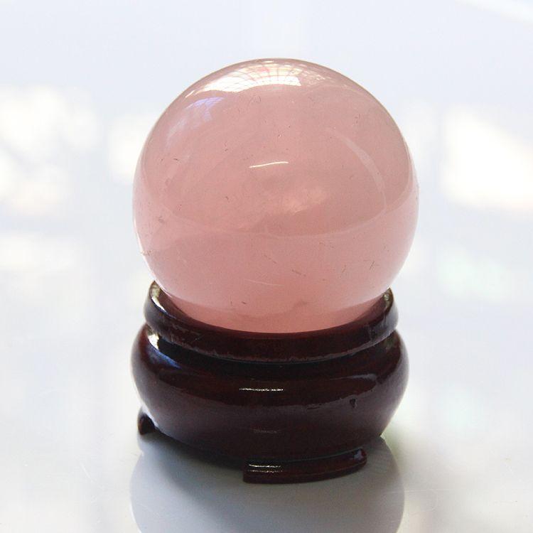 2015 avec support en bois 30mm ou 40mm de glace sortes de cristal rose naturel quartz rose boule de guérison livraison gratuite