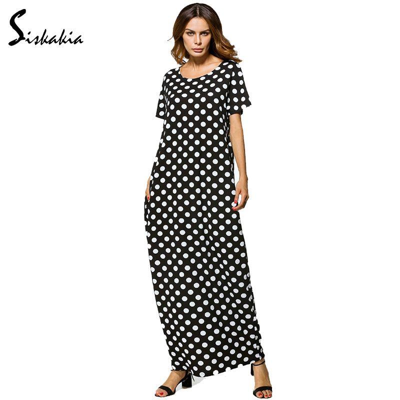 Siskakia Summer 2018 ladies loose casual long robe white Dot pocket design Black long muslim Dress women abaya clothes turkey