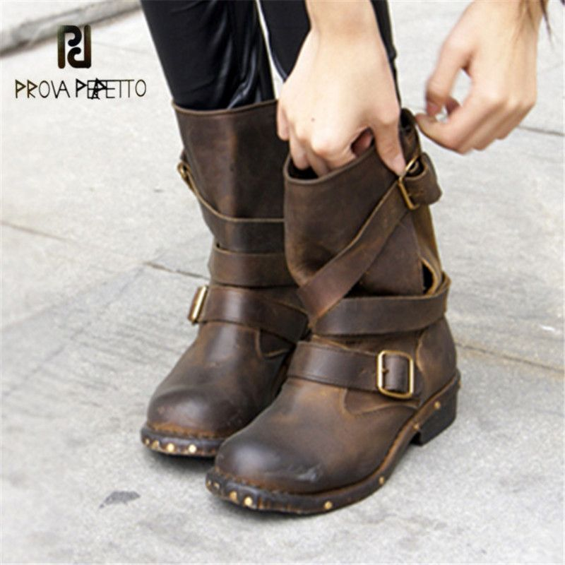 Prova Perfetto Retro Genuine Leather Women Ankle Boots Brown Round Toe Platform Rubber Flat Booties Rivets Studded Botas Mujer