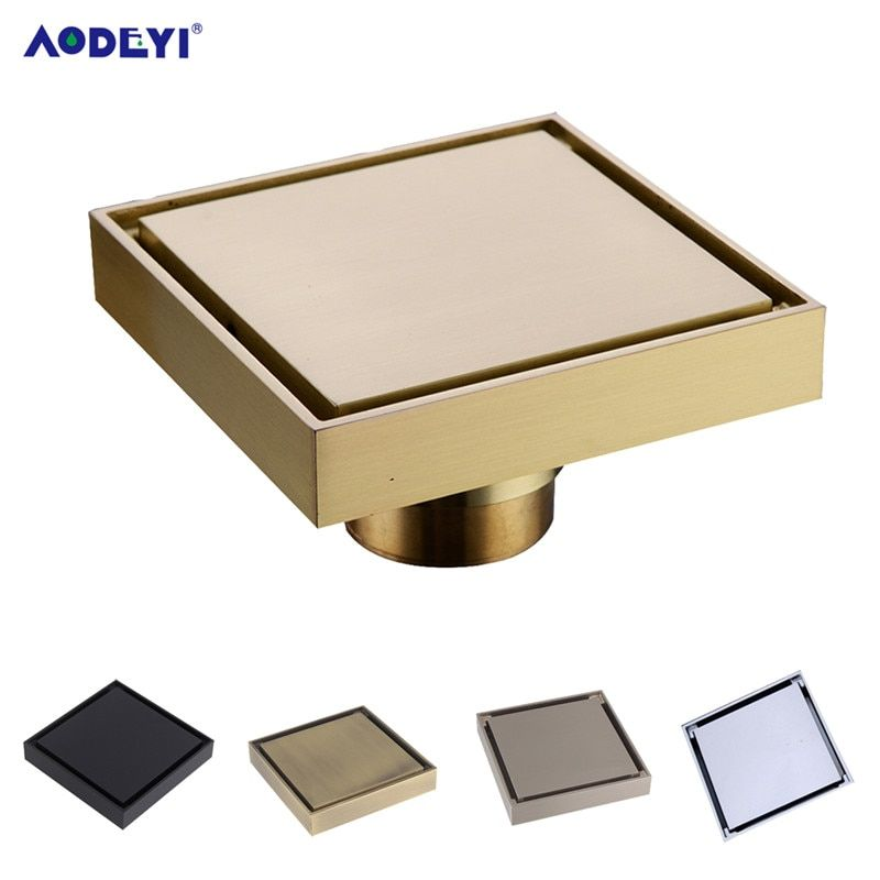 AODEYI livraison gratuite nouveau 100% laiton douche Drain salle de bain sol Drain carrelage insérer carré Anti-odeur sol déchets grilles 100X100