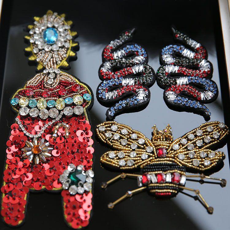 3D perlé À La Main serpent cigale Patchs pour vêtements BRICOLAGE coudre sur paillettes strass parches appliques Perlées parches bordados par