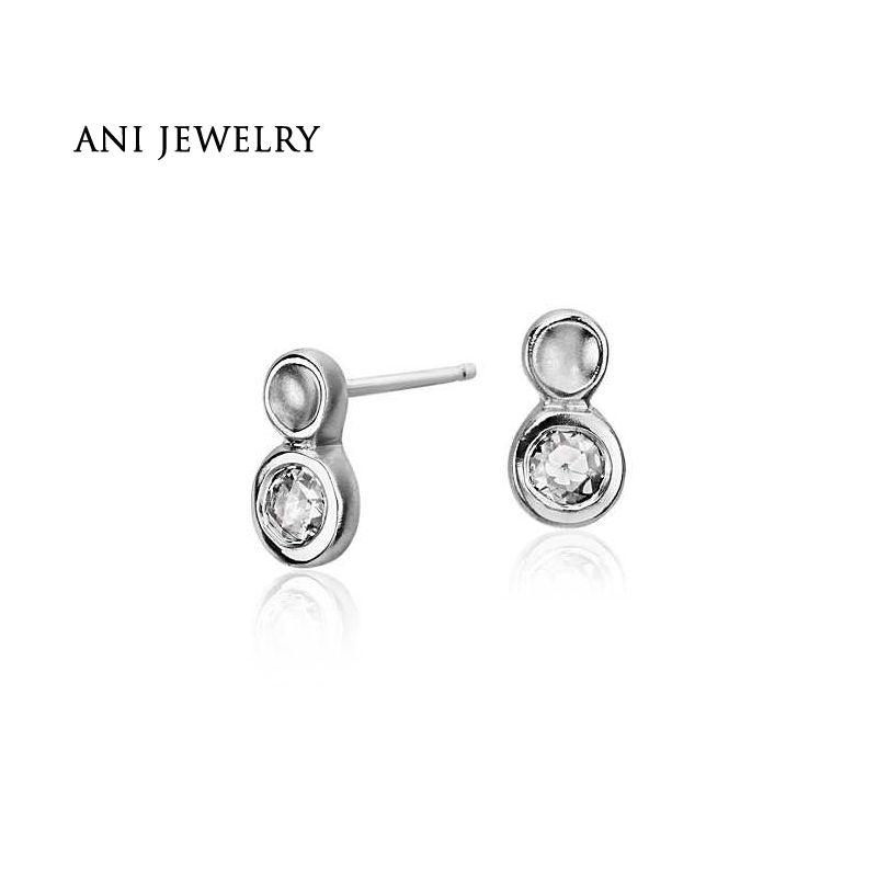 ANI 14K White Gold Women Wedding Earrings 0.4 CT Certified I/SI2 Natural Diamond 2 Round Stud Earrings for Women Engagement Gift