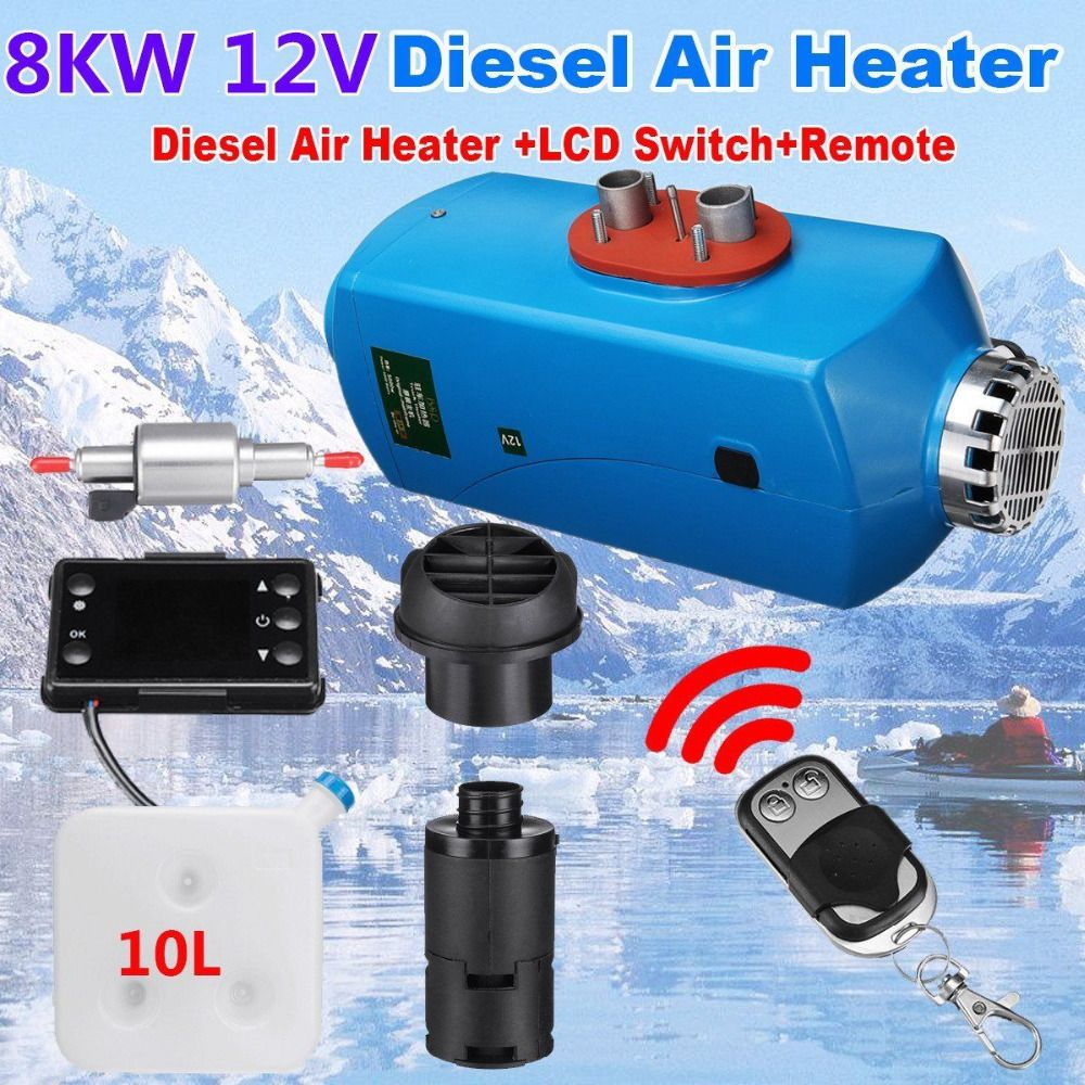 12V 8KW Diesel Air Heater Heating 15L Tank Thermostat LCD + Silencer + Remote