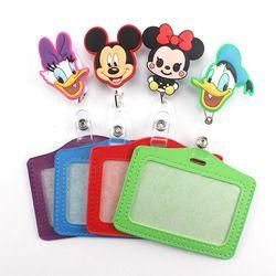 1Pcs Cartoon Mickey Retractable Badge Reel horizontal Style Student Nurse Exihibiton ID Name Card Badge Holder Office Supplies