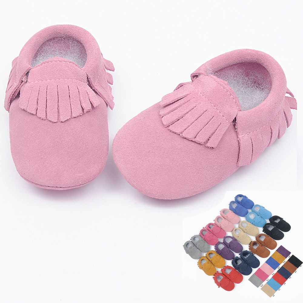 suede Genuine Leather soft baby shoes newborn Toddler baby moccasins Infant fringe Shoes free shipping
