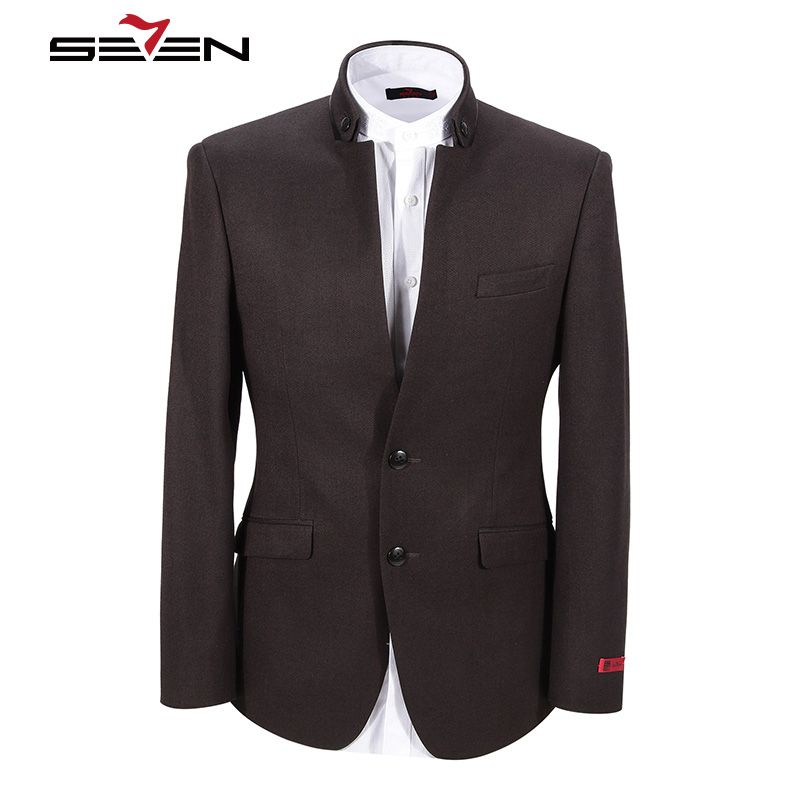 Seven7 Mens Tunic Jacket Casual Slim Sit Male Mandarin Collar Chinese Stand Dress Suit Jacket Formal Clothing Tops 107C11130