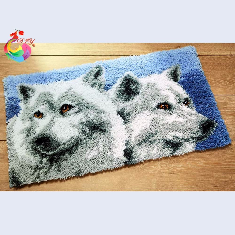 wolf cross stitch thread embroidery kits Latch hook rug kits Knitting needles rugs carpets cross-stitch kits Carpet embroidery