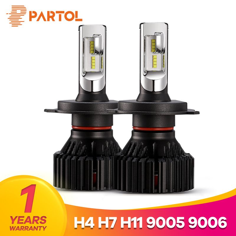 Partol T8 H4 Hi-Lo Beam H7 H11 9005 9006 Car LED Headlight Bulbs 60W 8000LM ZES Chips Automible <font><b>Headlamp</b></font> Front Lights 6500K 12V