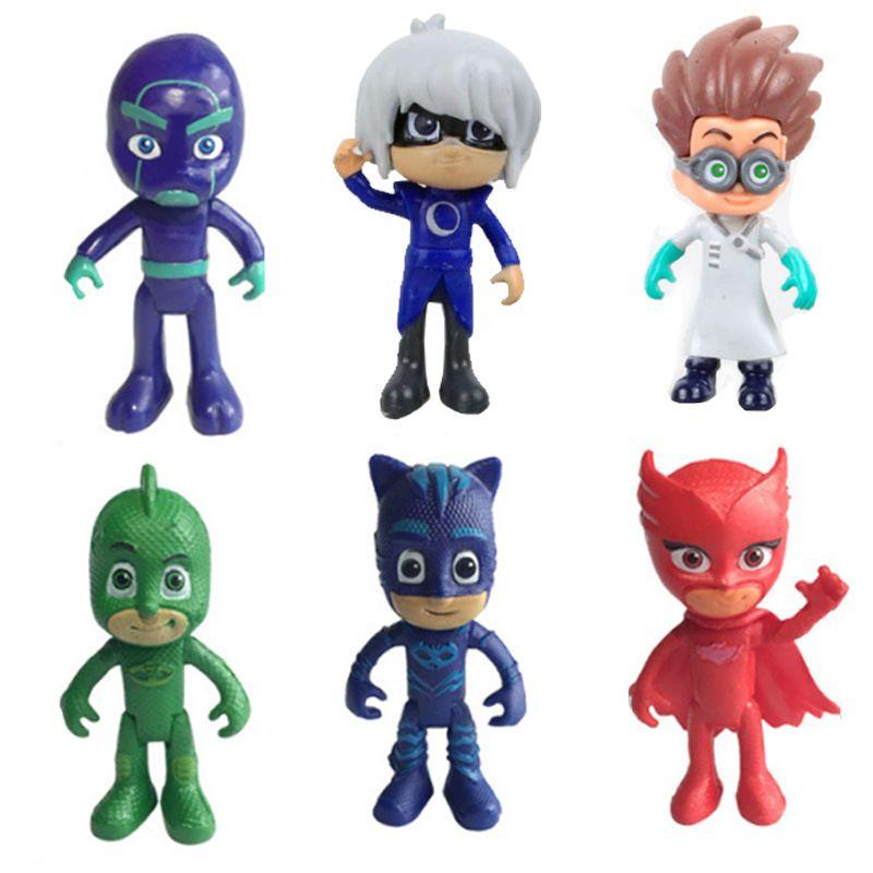 2018 New Arrival 6pcs/set 8-9cm Pj Masks Characters Catboy Owlette Gekko Cloak Action Figure Toy Boy Birthday Gift Plastic Dolls