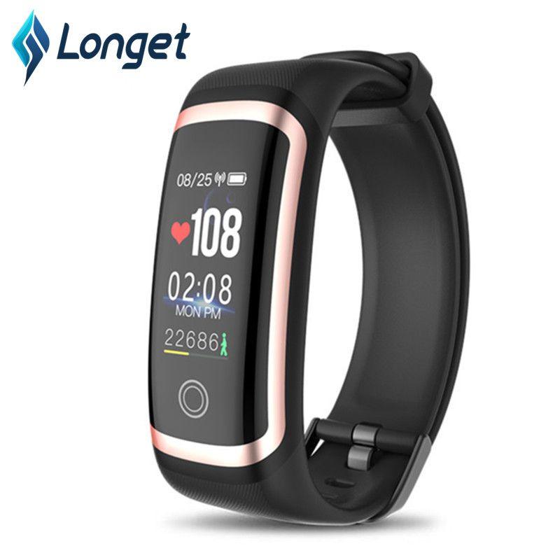 Bracelet intelligent LONGET avec moniteur de fréquence cardiaque, montre de Fitness écran couleur Tracker de Fitness avec moniteur de sommeil pour hommes femmes enfants