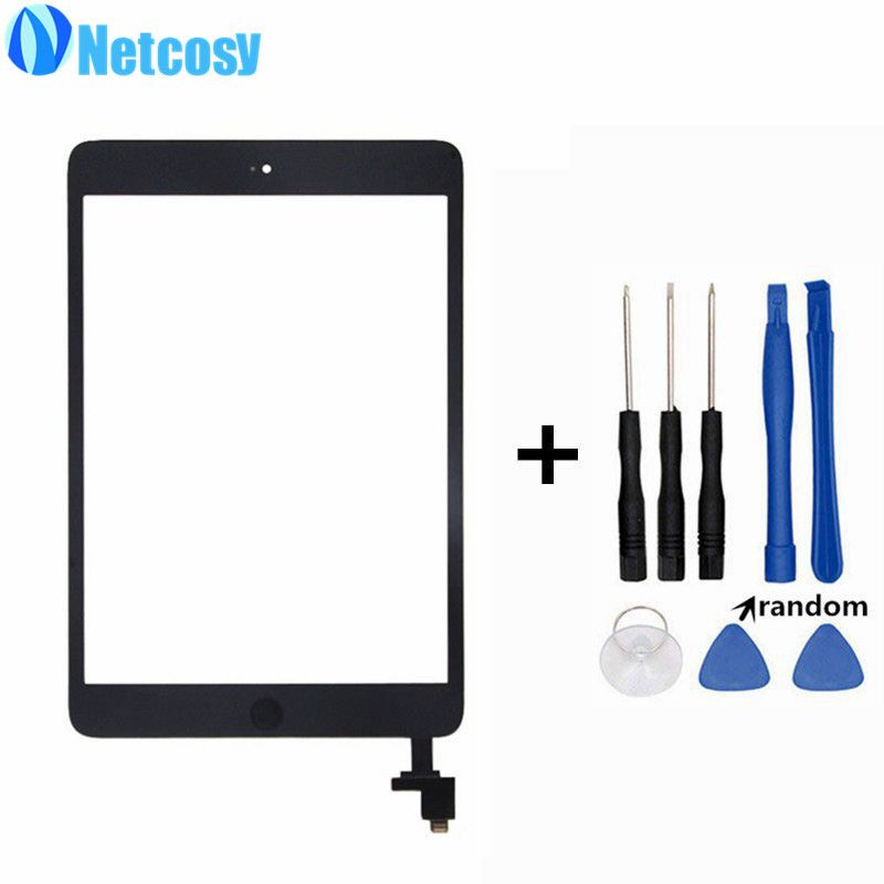 Netcosy A1432 A1454 A1455 A1489 Touchscreen For ipad mini 1/2 Touch Glass Screen Digitizer Home Button With IC Conector & Tools