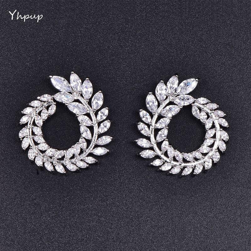 Mchic Luxury High Grade CZ Garland Olive Branch Cubic Zirconia Stud Earrings Female Trendy Basics Brand Earrings Brincos Gift