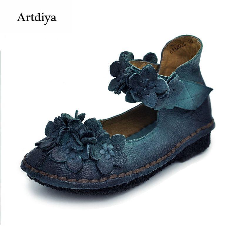 Artdiya 2018 Vintage Handgemachten frauen Schuhe Süße Blume Echtes Leder Low Heels Schuhe Weichen Laufsohle Casual Schuhe 611202L