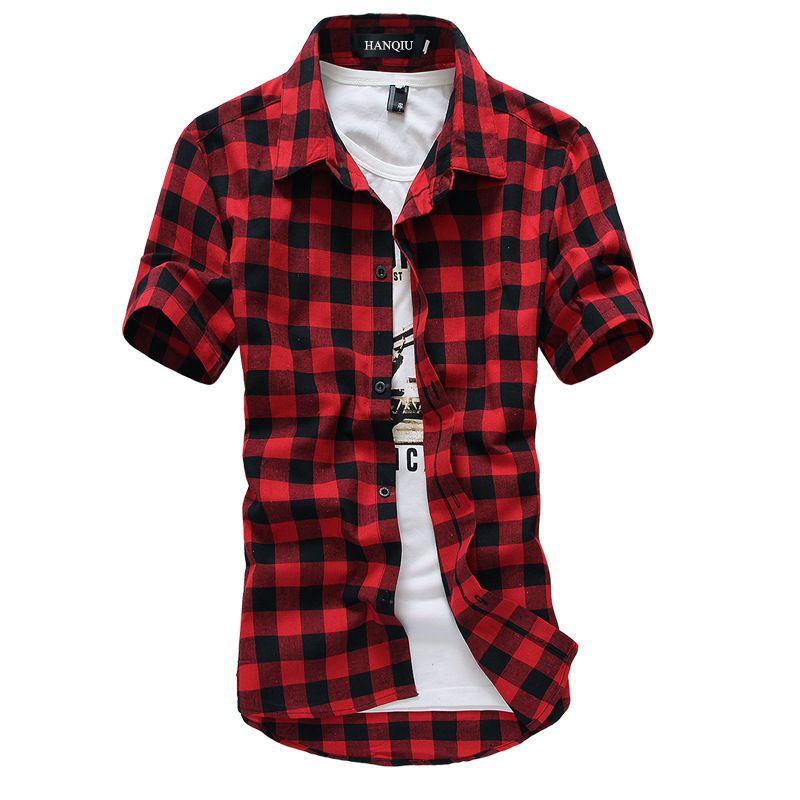 Chemise à carreaux rouge et noir hommes chemises 2019 nouvelle mode d'été Chemise Homme chemises à carreaux hommes Chemise à manches courtes hommes Blouse
