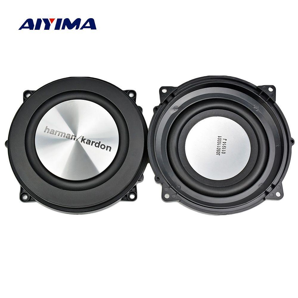 AIYIMA 2 pc 4 Pouces 120mm Basse Radiateur Radiateur Passif Haut-Parleur En Aluminium Brossé Auxiliaire Basse Vibration Membrane Pour Woofer DIY