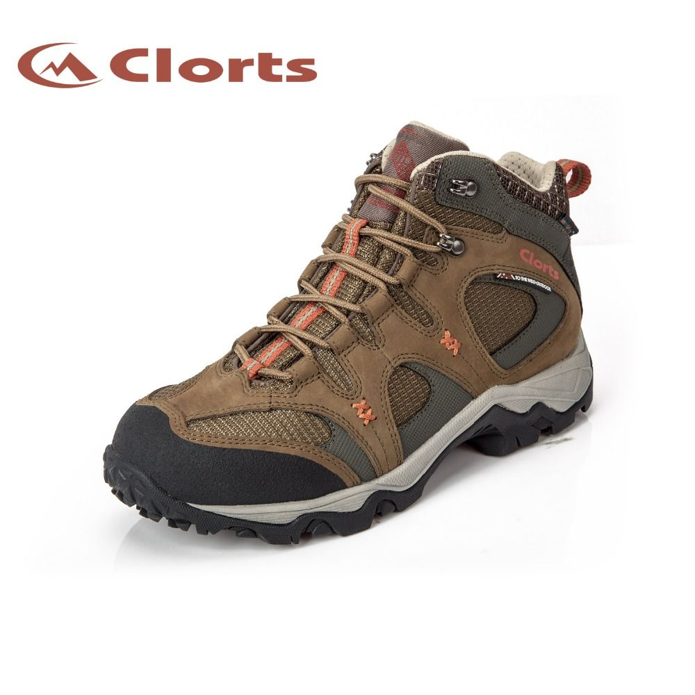 Clorts Men Mid-Cut Hiking Sneakers Genuine Leather Waterproof Outdoor Hiking Shoes EVA Nubuck Climbing Athletic Shoes HKM-820
