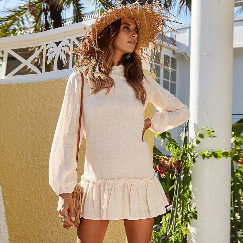 2019 Women Mini Dress Sexy O Neck Long Sleeve Ruffles Short Dresses Casual Streetwear Dress Vestidos