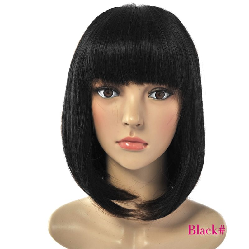 Deyngs Short Straight Pixie Cut Bob Synthetic Wigs for African American Women Natural Black/ Brown Wigs with Bangs Heat Friendly