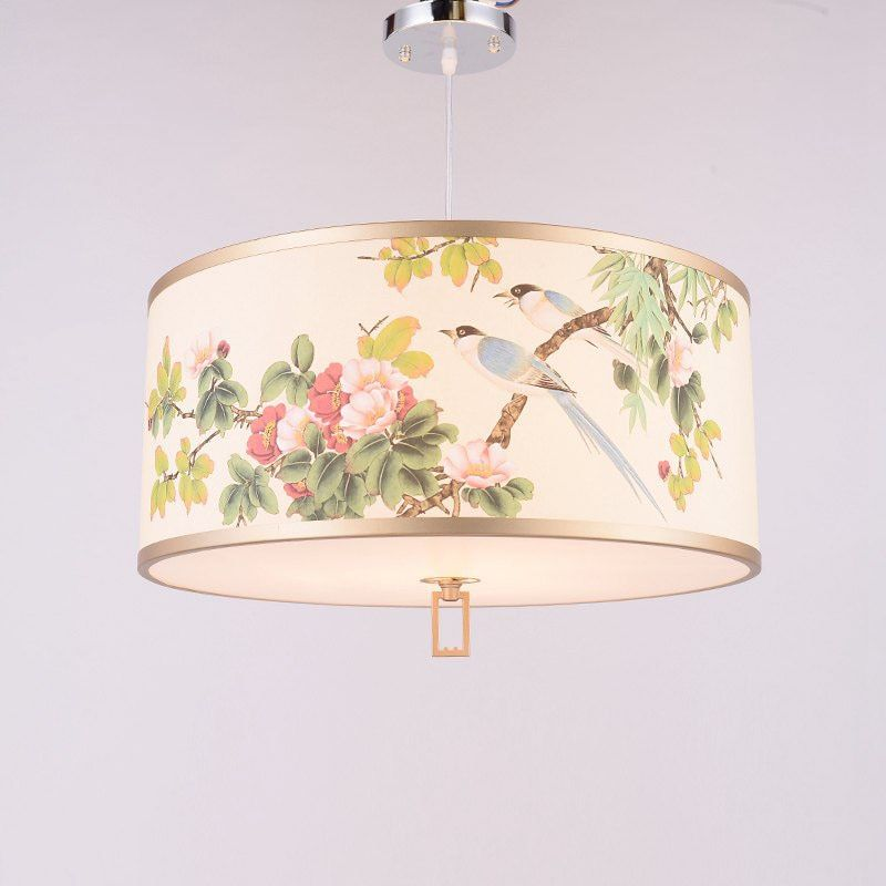Chinese Tradition Painting Bedroom Pendant Light Creative Flower Birds Bar Counter Restaurant Dining Room Hanging Pendant Lamp