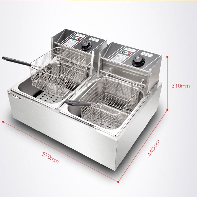 11L*2 Electric French Fries Fryer | Stainless Steel Deep Fryer | Double Tank Electric Fryer | Fried Chicken Machine WK-82