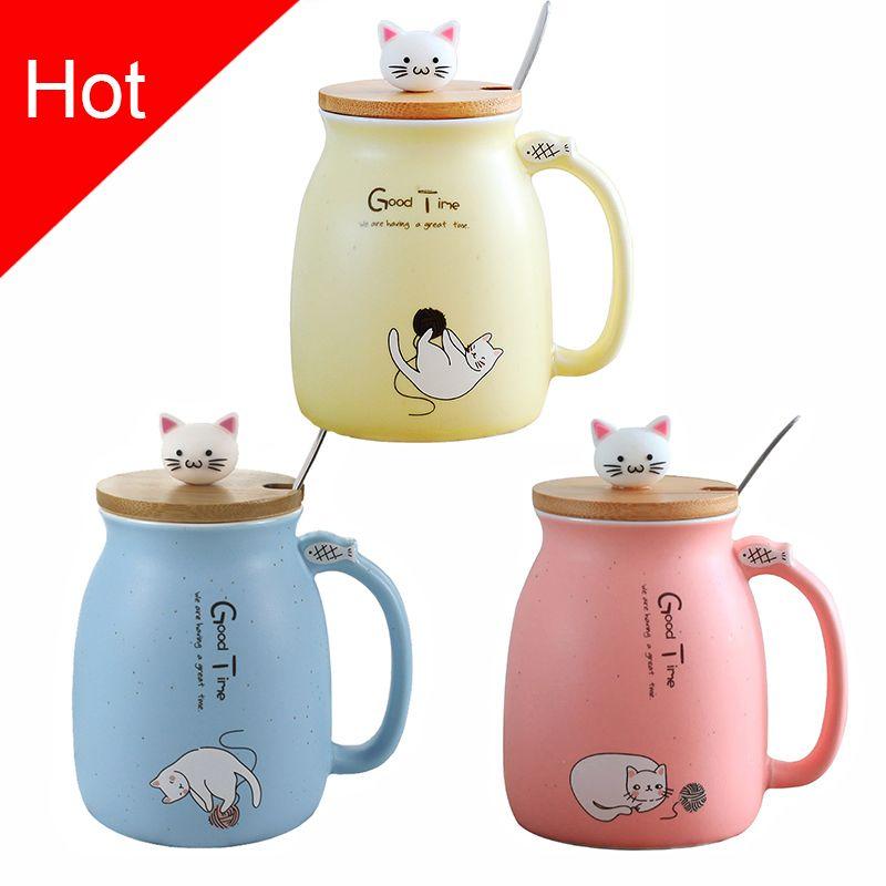 Créatif couleur chat résistant à la chaleur tasse dessin animé avec couvercle 450 ml tasse chaton café en céramique tasses enfants tasse bureau Drinkware cadeau