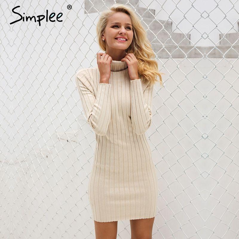 Simplee Casual turtleneck long knitted sweater dress women Cotton slim bodycon dress pullover female Autumn winter dress <font><b>2017</b></font>