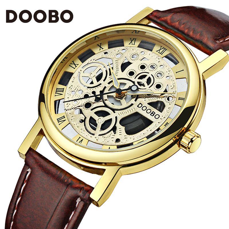2017 Watches Men Top Brand Luxury Golden Men's Watch Fashion Quartz-Watch Casual Male Sports Wristwatch Clock Relojes DOOBO