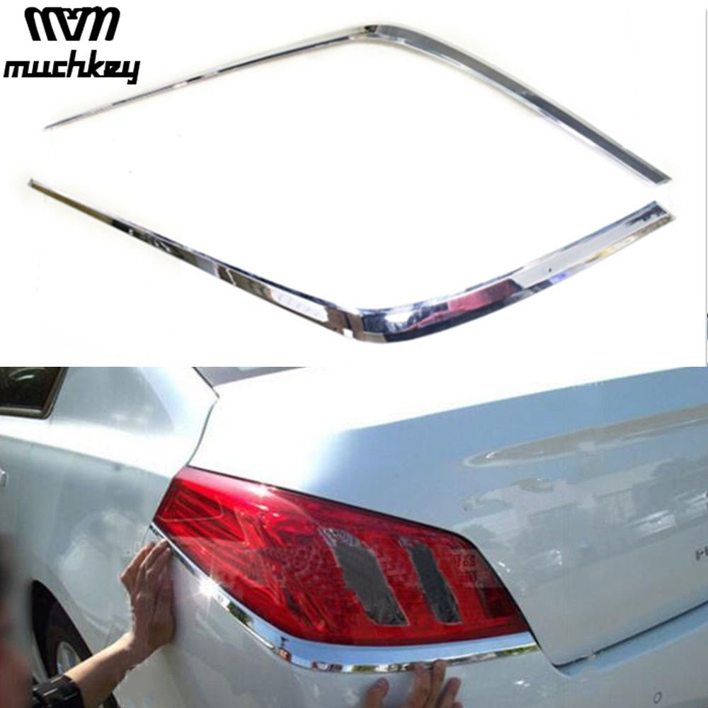 Newest Chrome Tail Rear Light Lamp Cover Trim High Quality For Peugeot 508 2011 2012 2pcs Per Set Car Styling Car Accessories