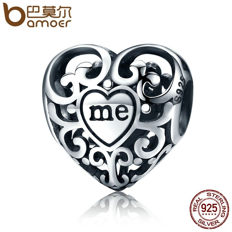 BAMOER Romantic Real 925 Sterling Silver Openwork You & Me Flower Leaf Beads fit Charm Bracelet & Bangle DIY Jewelry Gift SCC145
