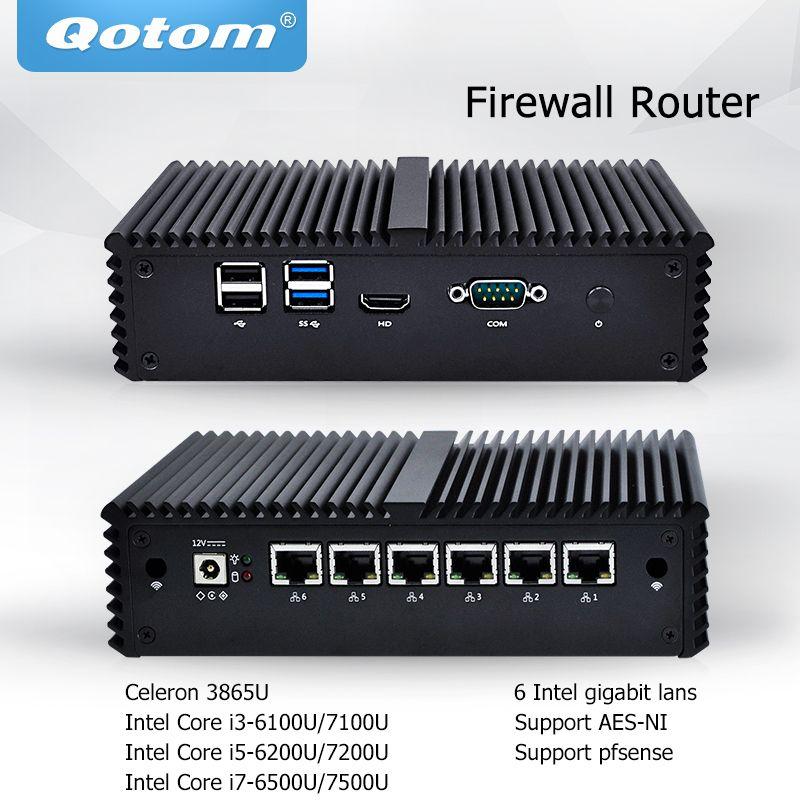 Qotom Mini PC 6 LAN Firewall Router Server Industrielle micro pc celeron core i3 i5 i7 vPro AES-NI Fanless pfsense mini Computer