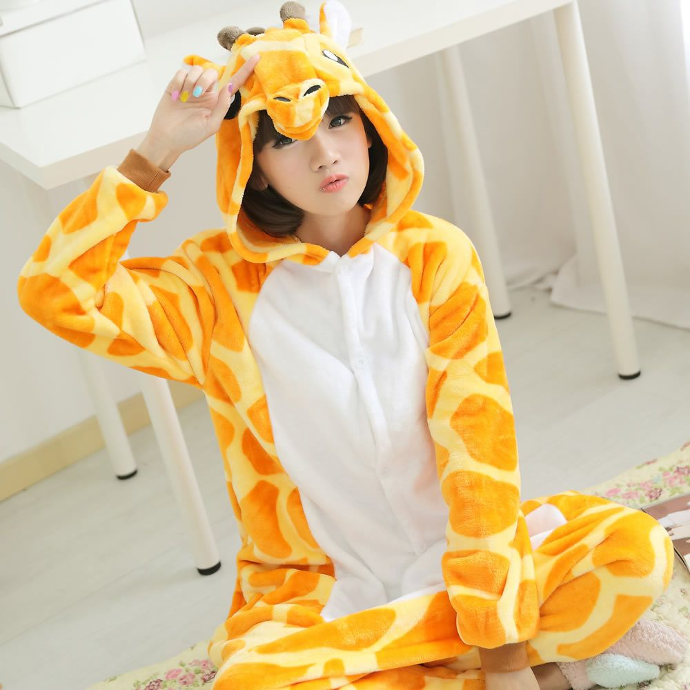 Adulte Flanelle Girafe Pyjamas Onesies Cosplay Costume Animal de Bande Dessinée Enfants Pyjamas Conception Pour La Toilette